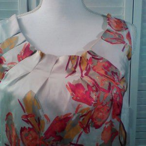 Ann Taylor S Ivory/Pink/Gold Halter Tank Top